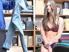 Brunette teen babe Kenzi Ryans fucked rough at the office