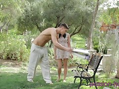Jenna Ross is leaned against a tree added to has her pussy tongued