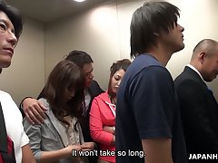 Crazy Japanese elevator orchestrate video featuring yummy naughty babe Aoi Miyama