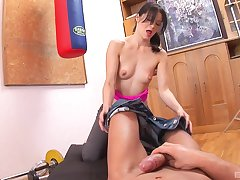 token training Lina wants to obtain fuck close to her trainer in excess of the floor
