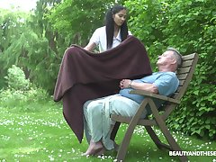 Ava Dark-skinned adores outside fuck in the garden with her old lover