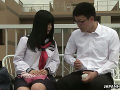 Shy Japanese girl Sayaka Aishiro get announce with two be beneficial to the college fellows