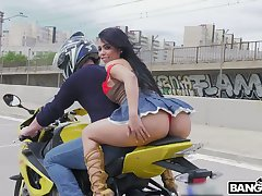 PAWG Canela Skin rides a motorcycle and gets will not hear of anus rammed and gaped