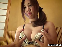 Hadncuffed lady from Japan Yui Shiina gets her scruffy pussy teased a bit